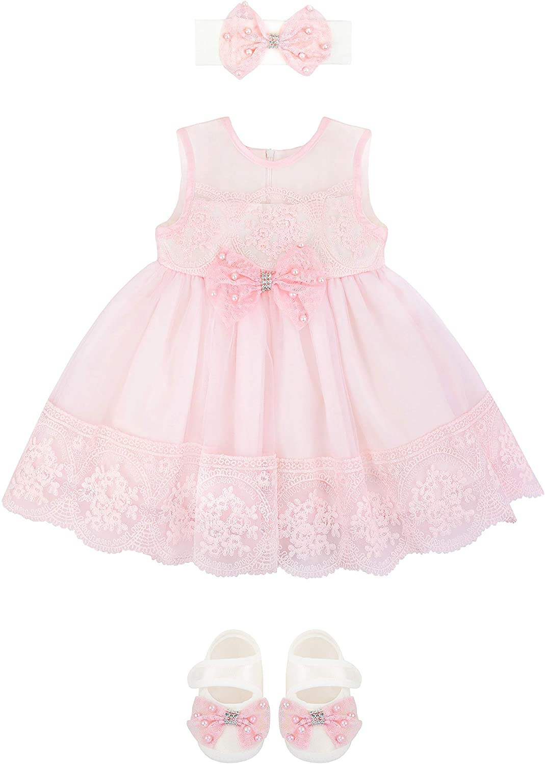 T.F. Taffy Baby Girl Newborn Pink Embroidered Princess Dress Gown 6 Piece Deluxe Set 0-3 Months