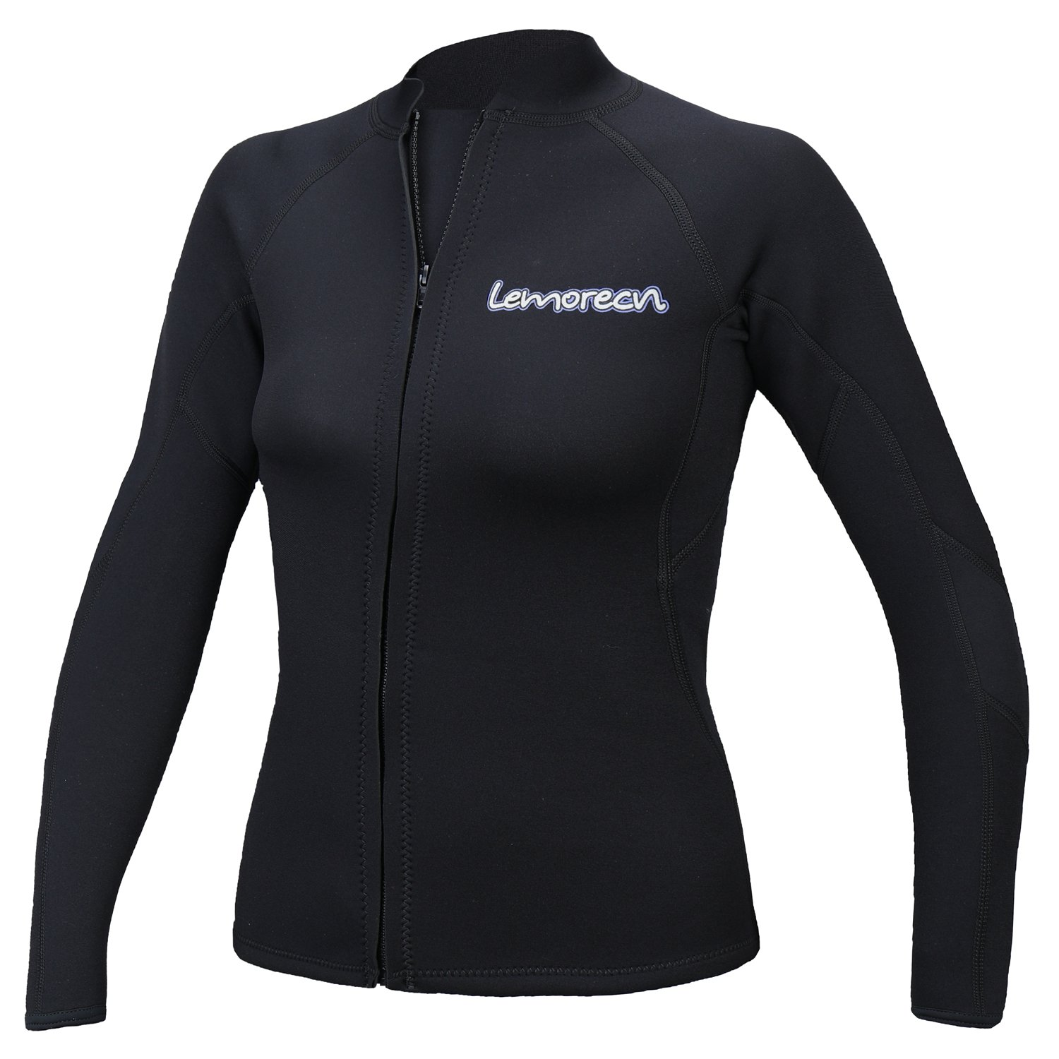 Lemorecn Women's 2mm Wetsuits Jacket Long Sleeve Neoprene Wetsuits Top(2098black14) by Lemorecn