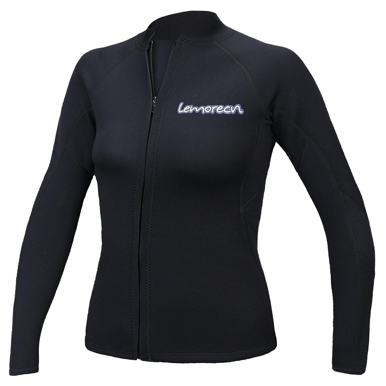 Lynddora Womens Long Sleeve 2MM Neoprene Diving Jacket Front Zipper Wetsuit Top