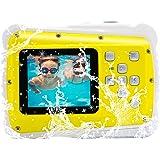 Vmotal GDC5261 Wasserdichte Digitalkamera mit 4X Digitaler Zoom/8MP/2 TFT LCD Bildschirm/Wasserdichte Kamera für Kinder (Gelb)