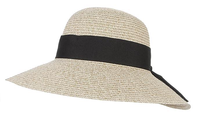 43cda98680a Gemvie Women Floppy Sun Hat Straw Beach Braided Summer Panama Wide Brim Cap  Beige