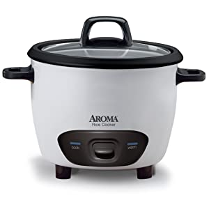 Aroma Housewares 6-Cup (Cooked)(3-Cup UNCOOKED) Pot-Style Rice Cooker (ARC-743G)