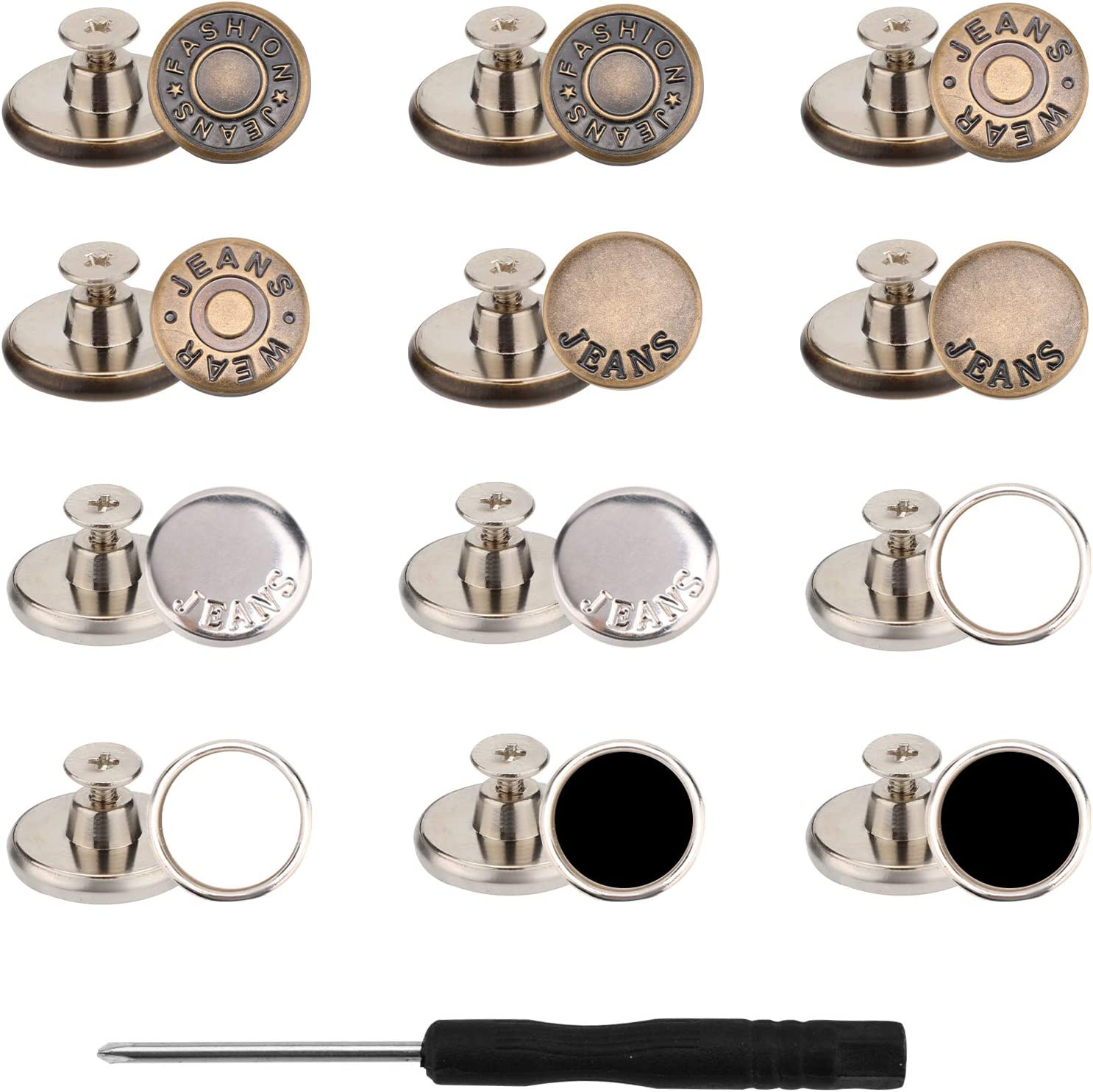 TOYMIS 12 Sets Jeans Buttons Brass Button Snap Metal Buttons Kit with Rivets and Screwdriver for Cowboy Clothing Jackets Pants Bags