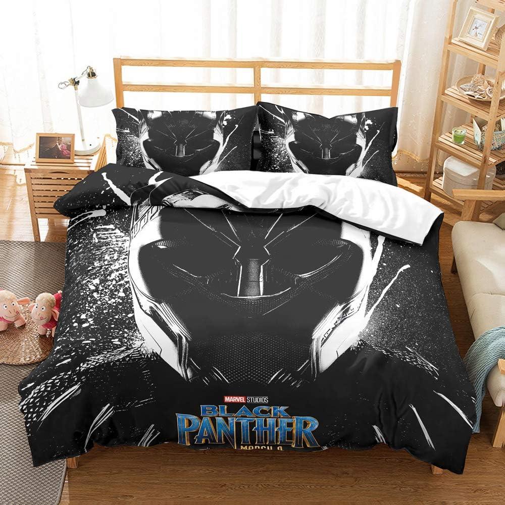 NOOS 3D Black Panther Bedding Set Full Size, Cartoon Superhero Duvet Cover Set for Kids, Suitable for Boy Gift Marvel Series Bed Sets 3Piece (1Duvet Cover,2 Pillowcases) No Inside Filler