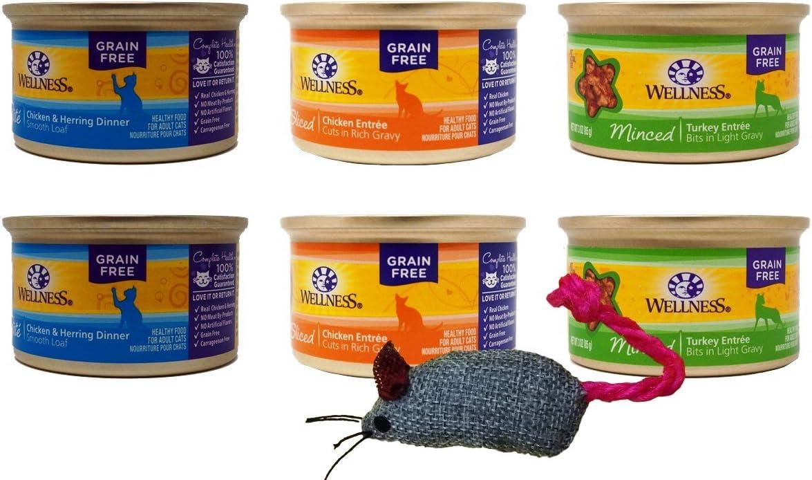 Wellness Grain-Free Adult Cat Food 3 Flavor Variety 6 Can Sampler Bundle Plus Toy, 2 Each: Chicken Herring Pate, Sliced Chicken in Gravy, Minced Turkey in Gravy (3 Ounces)
