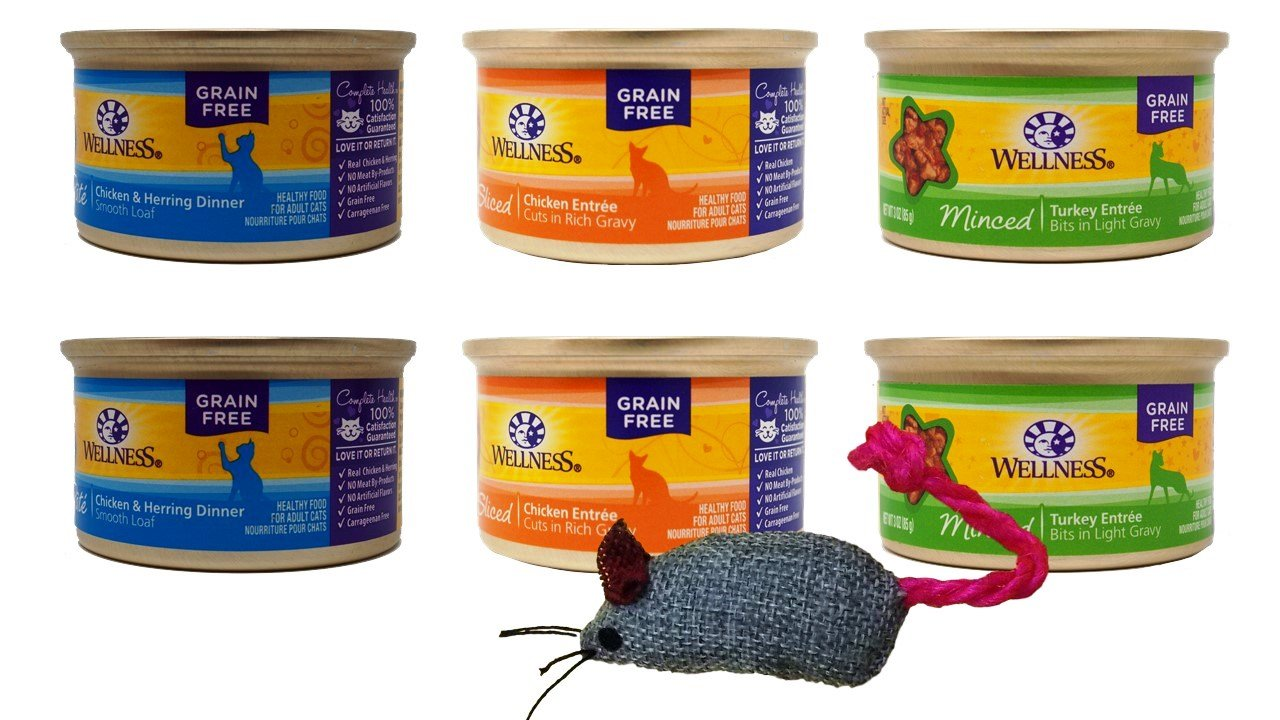 Wellness Grain Free Adult Cat Food 3 Flavor Variety 6 Can Bundle with Toy, 2 each: Chicken Herring Pate, Sliced Chicken in Gravy, Minced Turkey in Gravy (3 Ounces)
