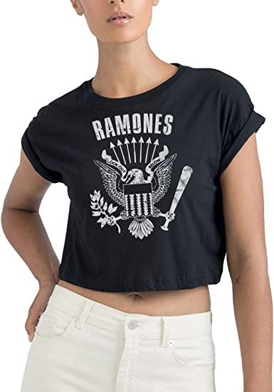 LaMAGLIERIA Camiseta Corta orgánica Mujer Ramones Cod Rs01 - t-Shirt Punk Rock Crop Top: Amazon.es: Ropa y accesorios