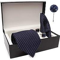 nu-Lite Men's Silk Stain Resistant Necktie, Pocket Square, Lapel Pin Cufflinks Set (Blue)