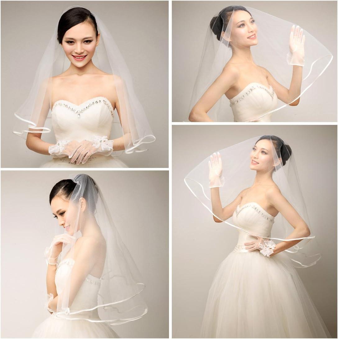 voile de satin avec peigne JJOnlineStore Voile de mariage 2 niveaux 60x80 cm Ivoire