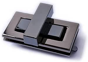 Bobeey 2sets 51x29mm Rectangle Twist Turn Locks,Rectangle Purses Locks Clutches Closures,Metal Twist Locks Purse Closure Turn Locks BBL7 (Black Gun, L)