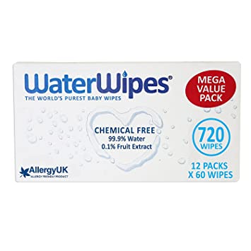 WaterWipes Sensitive Baby Wipes, Natural & Chemical-Free, 12 x 60 (720