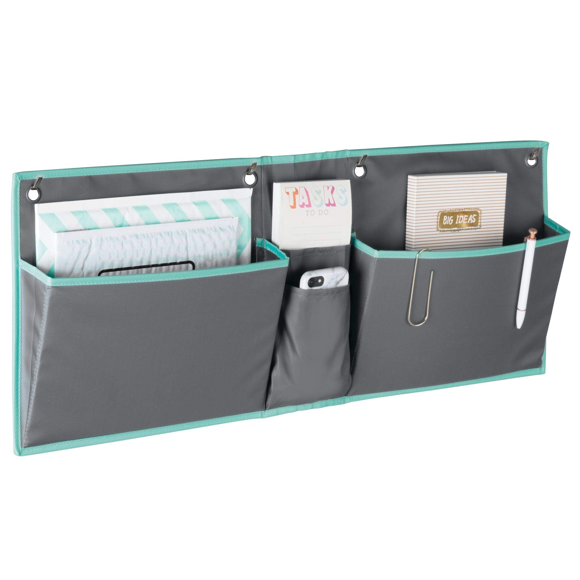 mDesign Soft Fabric Wide Over The Door Hanging Storage Organizer - 4 Pockets in 2 Sizes - Horizontal Office Center Home Office, Work Cubicle - Hooks Included, Gray/Teal Blue