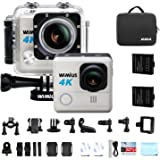 """WiMiUS 4K Action Camera 16MP 40M Underwater Cameras WiFi Sports Helmet Cam 2.0"""" LCD Screen 170° Wide Angle With 2.4G Remote Control Dual Rechargeable Batteries and Accessory Kit"""