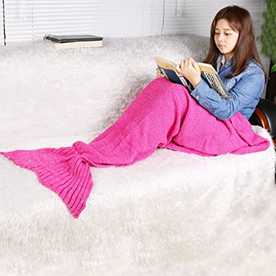 RuiWing Mermaid Tail Blanke, Hand Crochet Sleeping Bag Snuggle Mermaid Sofa Bed Blanket (Pale Pinkish Gray, 65 x 28 inch): Home & Kitchen