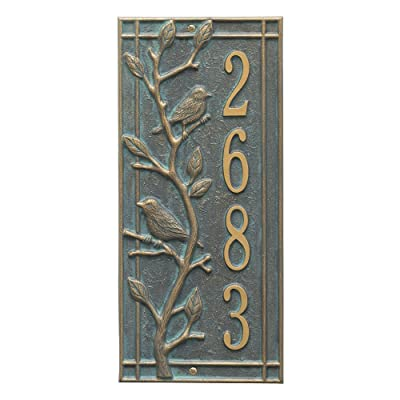 "Customized Woodbridge Vertical Aluminum Address Plaque 16.5""H x 7.5""W"