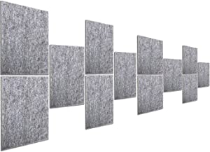 MYOYAY 12 Pack Decorative Acoustic Panels 16x12x0.4in NRC Sound Proofing Studio Wall Padding High Density Bevled Edge Foam Tiles Noise Absorbing Treatment for Home Studio Decor