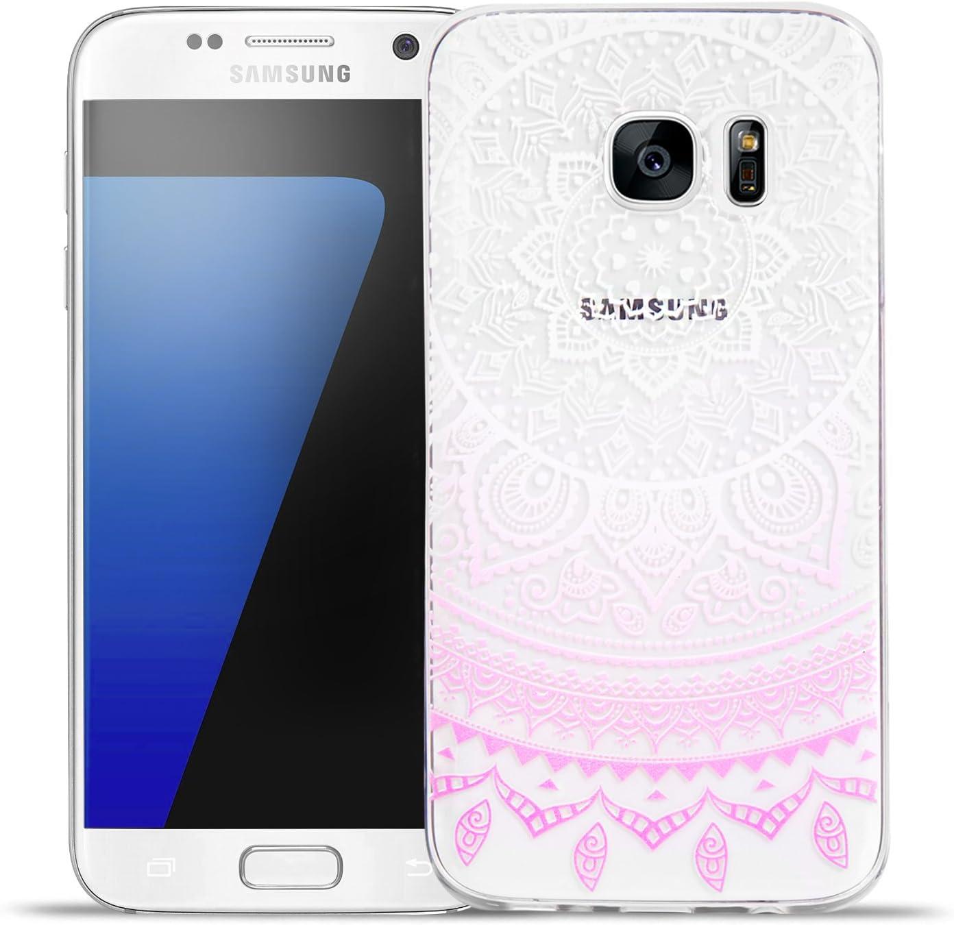 Conie Mandala Cover Compatible con Samsung Galaxy J3 2016, diseño Indio de Henna Carcasa de Silicona antiarañazos