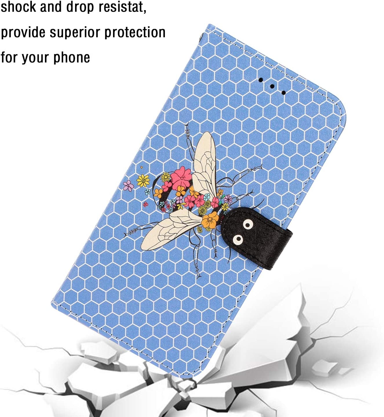 Samsung Galaxy A40 Case Shockproof PU Leather Flip Notebook Wallet Phone Case Embossed Bee Slim Fit TPU Bumper with Card Slots Magnetic Closure Stand Function Folio Protective Case Cover Tiger