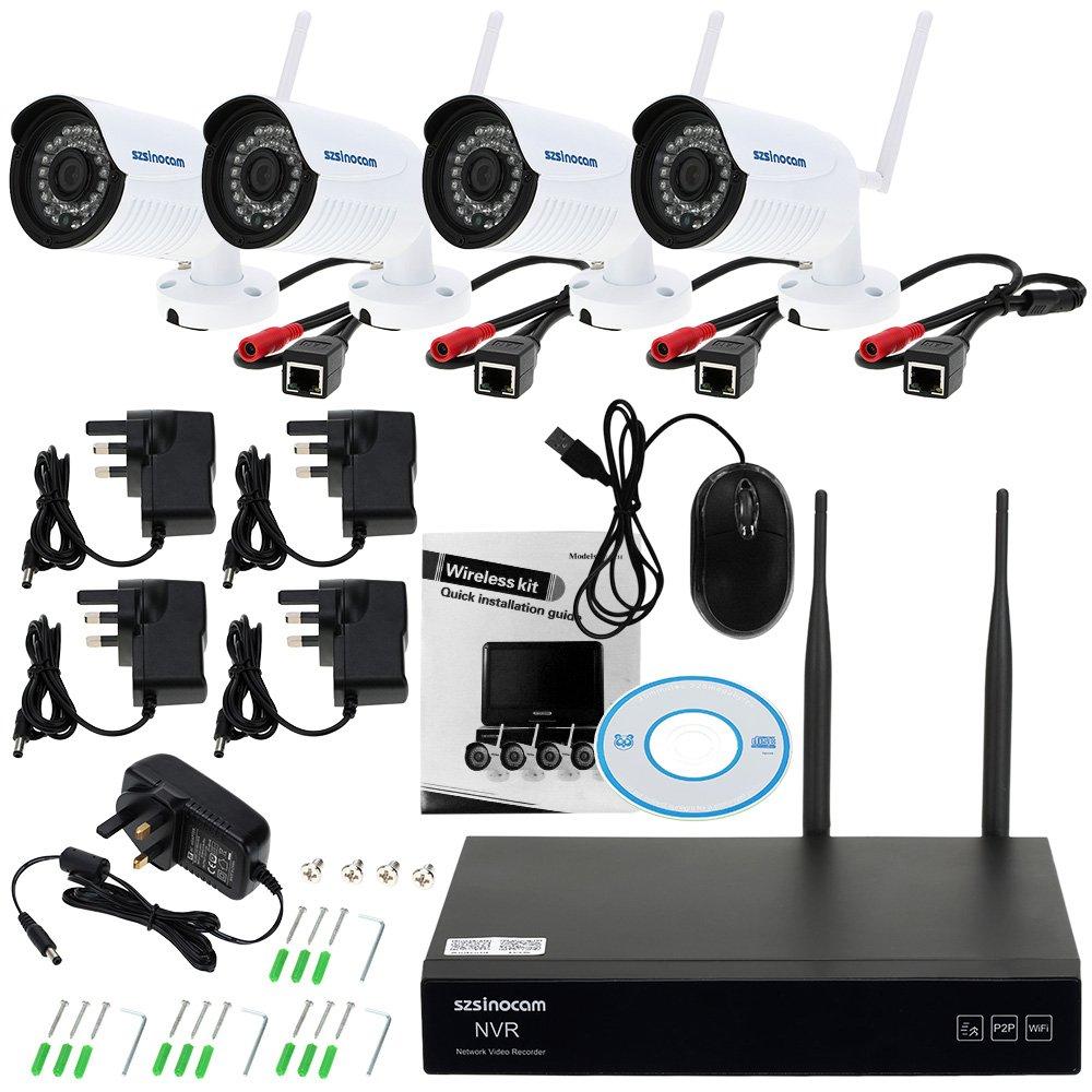 Kkmoon 4ch 1080p hd wifi nvr kit 4stück drahtlose wasserdichte Überwachungskamer