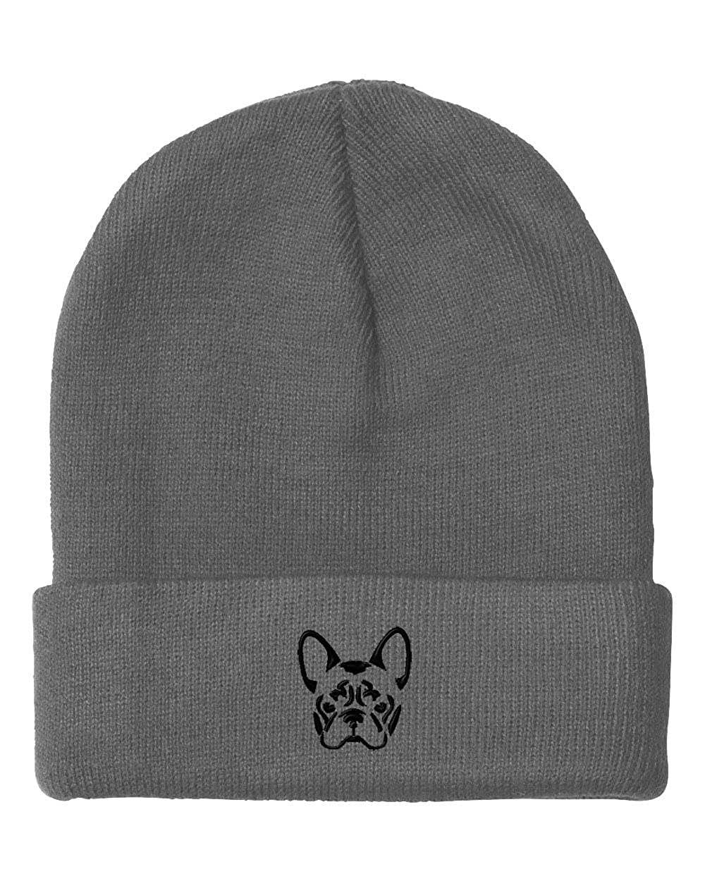 French Bulldog Silhouette Embroidery Embroidered Beanie Skully Hat Cap BNCEM0088_B