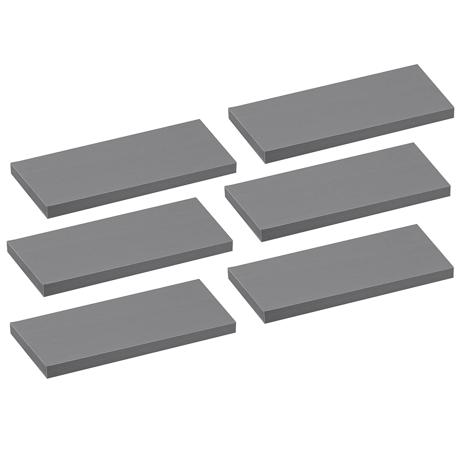 Harbour Housewares Floating Wooden Wall Shelf Shelves - 80cm - Grey - Pack of 6