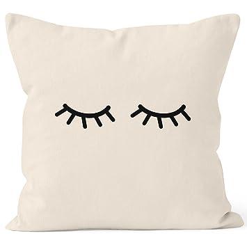 Kissenbezug Schlafende Augen Wimpern Eye Lashes Müde Schlafen Mascara Kissen Hülle  Deko Kissen Baumwolle