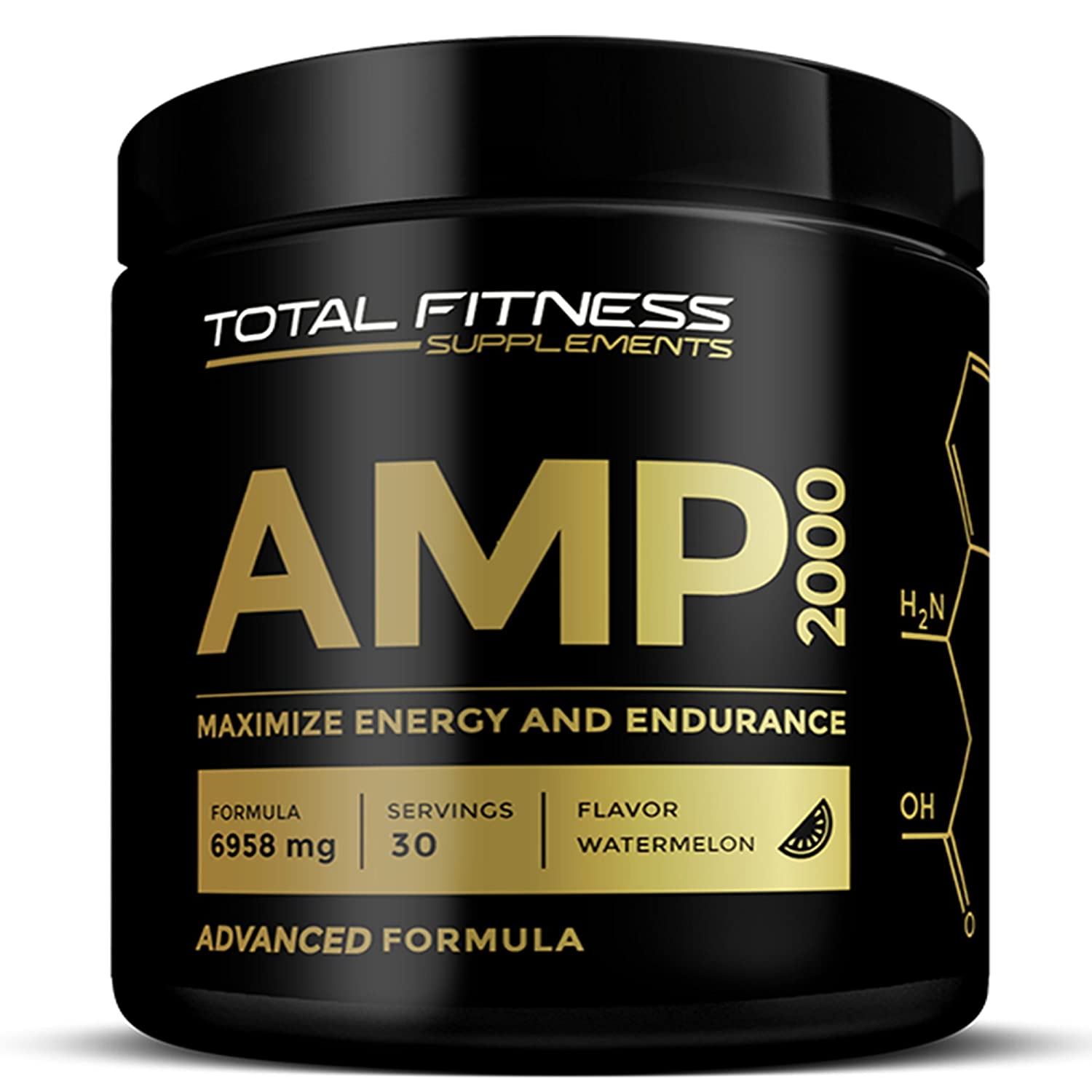 Total Fitness Supplements AMP 2000 Pre Workout Powder with Nitric Oxide Boost, CarnoSyn Beta Alanine, Watermelon, Muscle Builder for Workout Training, 30 Servings