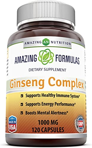 Amazing Nutrition Ginseng Complex – 1000 mg per Serving – Supports Healthy Immune Function, Brain Health, Promotes Energy Performance and More – 120 Capsules Per Bottle Non-GMO,Gluten Free