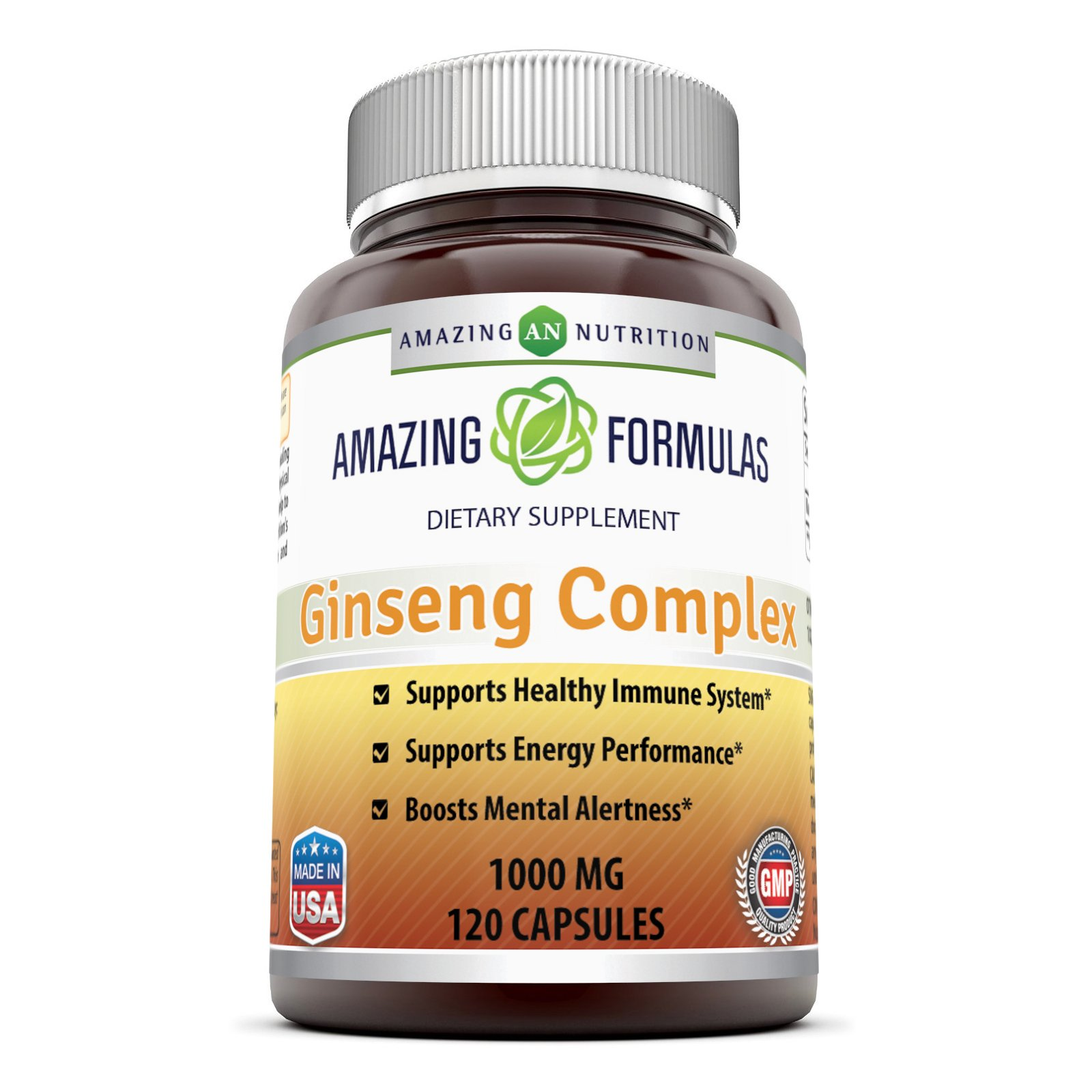 Amazing Nutrition Ginseng Complex – 1000 mg per Serving – Supports Healthy Immune Function, Brain Health, Promotes Energy Performance and More – 120 Capsules Per Bottle (Non-GMO,Gluten Free)