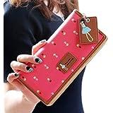 Malloom® nuevo moda El bloqueo de color dama mujeres chica largo monedero embrague billetera Bolsa postal Titular de la tarjeta (rosa fuerte(hot pink))
