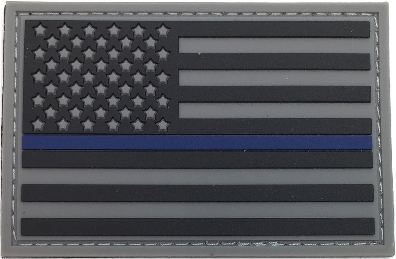 Delgada línea azul Policía parche de Velcro PVC goma la bandera americana, apoyo y aplicación de la ley moral patch, azul vida tema parche, perfecto para Tactical operador gorras y sombreros: Amazon.es: