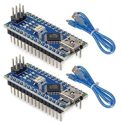 MakerHawk 2pcs Nano V3.0, ATmega328P Placa del microcontrolador, Nano Placa CH340G Chip