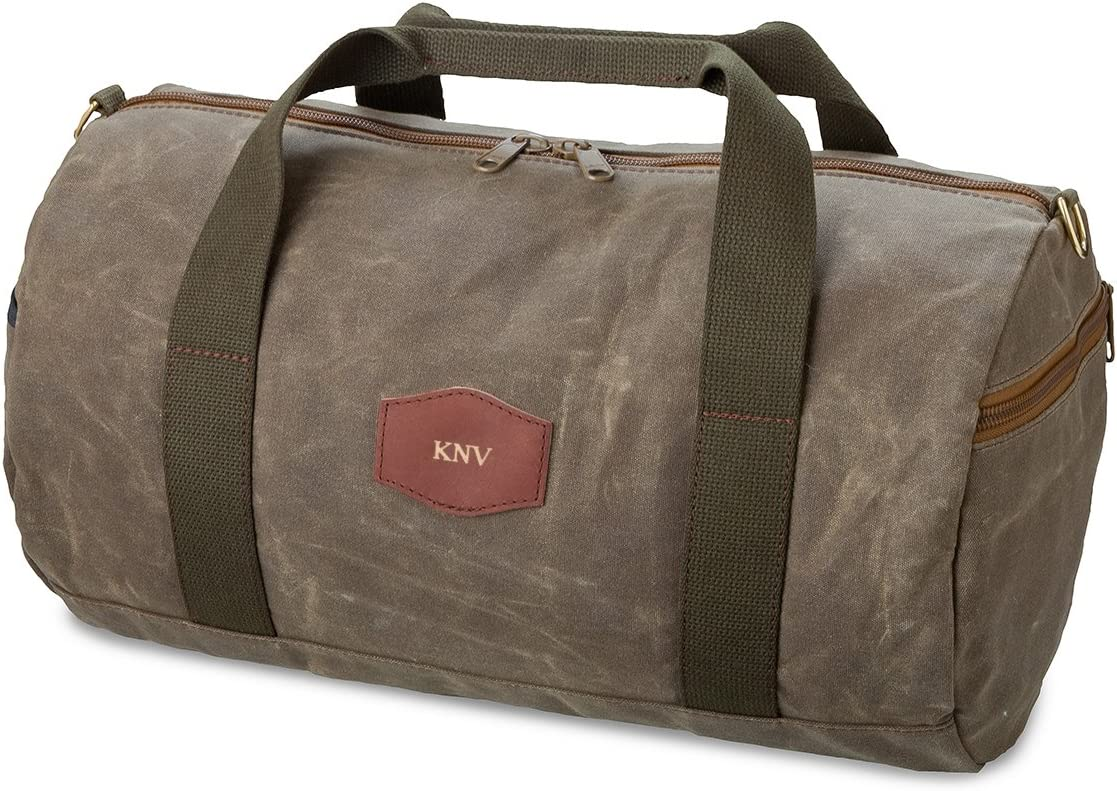 Waxed Canvas Field Tan Gold Personalized Duffel Bag