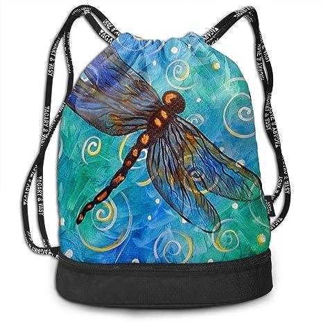 03515e3cb3f6 Amazon.com: OLOSARO Drawstring Bag Beautiful Dragonfly Shoulder Bags ...