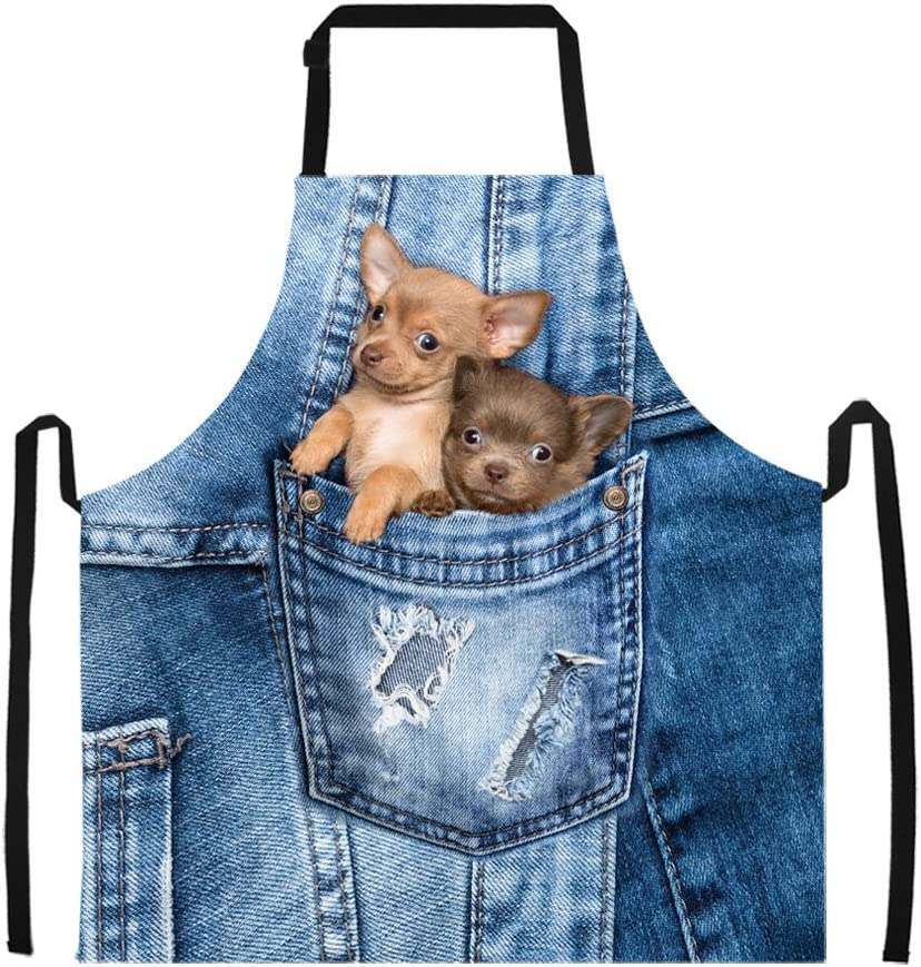 Dog Cat Fashion Home Cooking Restaurant Kitchen Apron Women Men Gift Adjustable