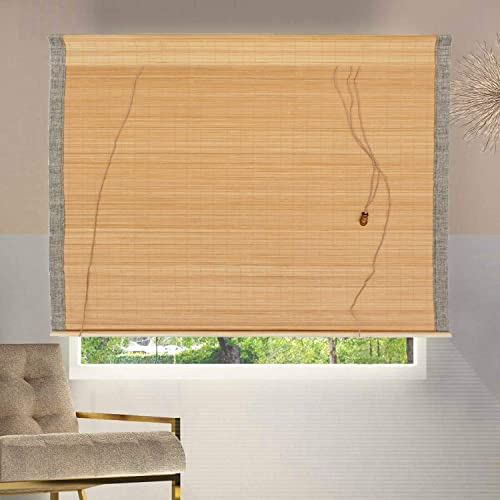 uyoyous Bamboo Window Blinds Natural Light Filtering Roll Up Shade