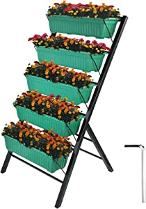 Patiolife Vertical Garden Planter 4 Feet Vertical Planters Outdoor with 5 Container Boxes Tiered Garden Bed Vertical Garden Vertical Planter for Patio Balcony Indoor Outdoor Flowers Herb Vegetables