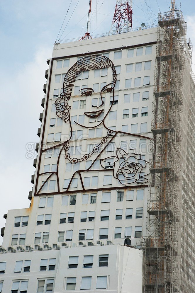 Eva Peron sculpture on south side of Health ministry building, Buenos Aires, Argentina Gallery-Wrapped Canvas