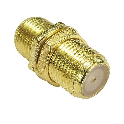 F Tipo Conector Acoplador Unir Sat ONO Cables con Tuerca Oro