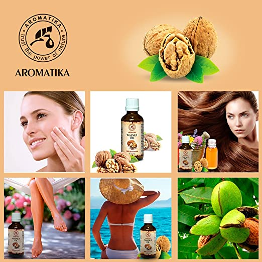 Aceite de Nuez 50ml - Juglans Regia Seed Oil - USA - 100% Puro y Natural - Aceite Base - Cuidado Intensivo - Aceite de Nuez para Rostro - Cuerpo - Cabello ...