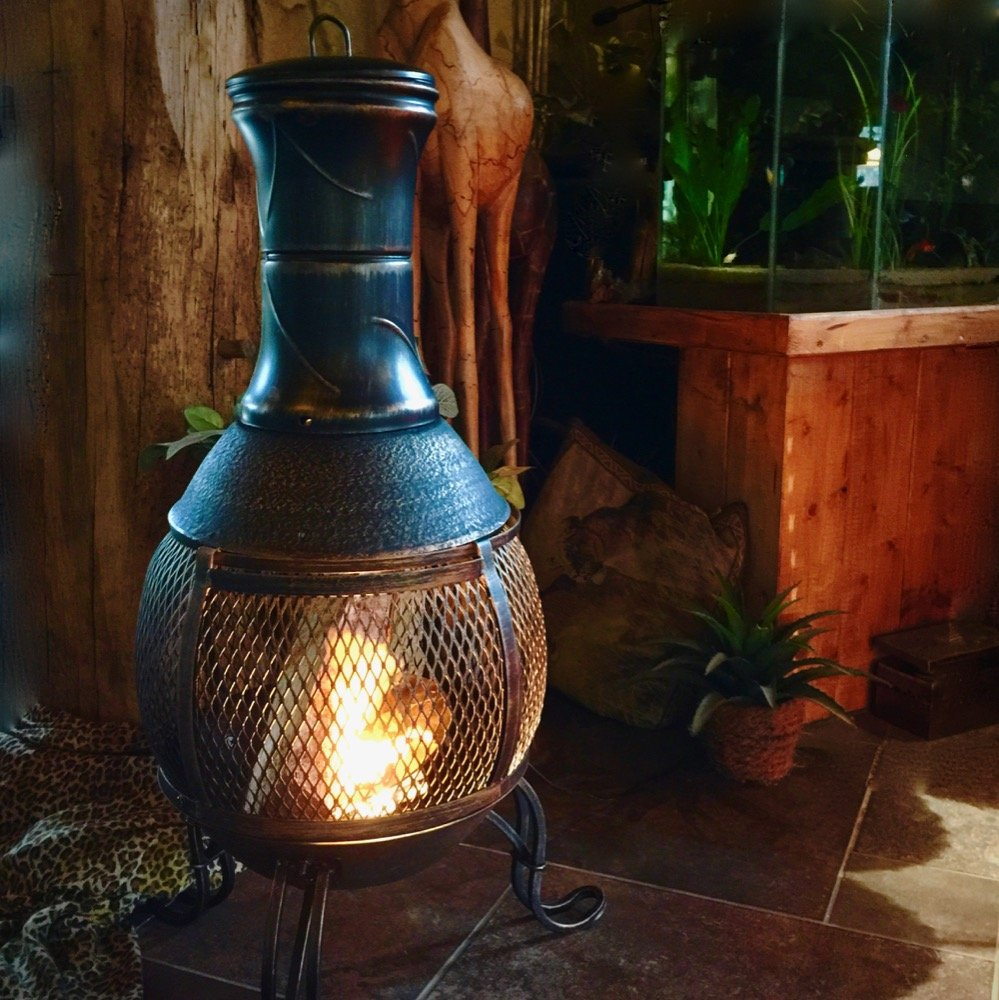 Antikas - Garten Kamin Kaminofen - Terrassenofen aus Metall - Gartenkamin Feuerstelle
