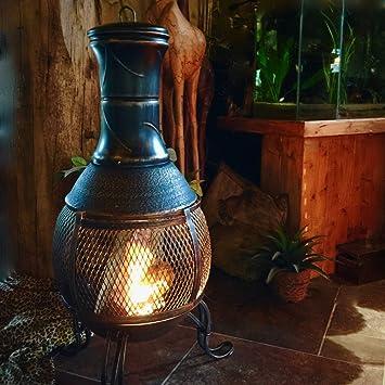 Antikas - estufa para jardín de hierro fundido - estufa redonda con reja contra proyección de chispas - estufas patio y terraza: Amazon.es: Jardín