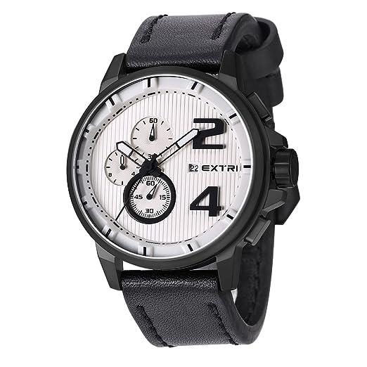 Extri Reloj Analogico-Digital para Hombre de Cronometro con Correa en Cuero X3004E: Extri: Amazon.es: Relojes