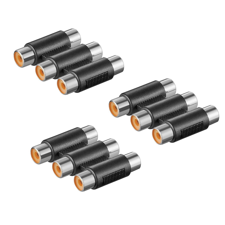 Adapter 3x Cinch Buchse auf 3x Cinch Buchse Kupplung Kabel Verbinder