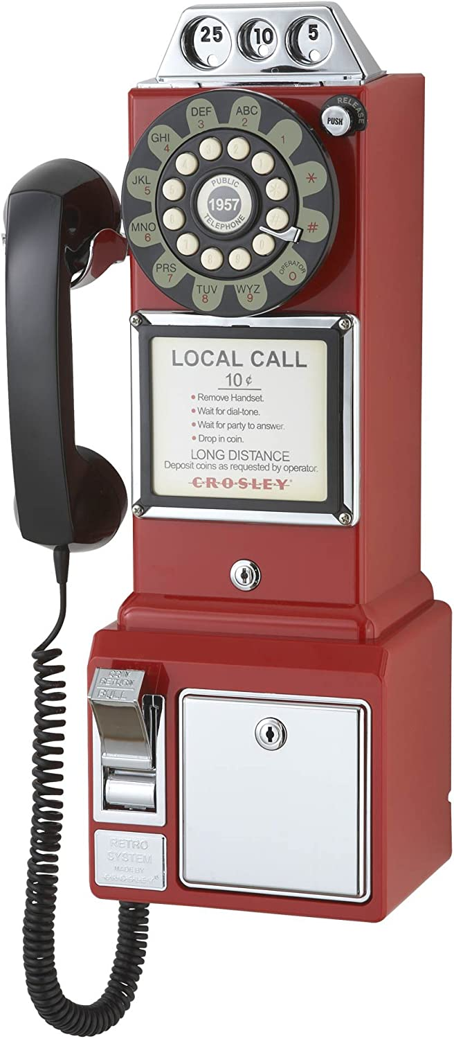 Crosley CR56-RE 1950's Payphone with Push Button Technology, Red
