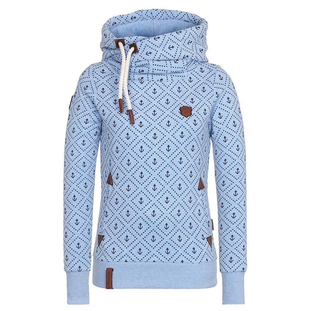 Damen Lange Ärmel Hoodie Frauen Kapuzenpullover Pullover mit Kapuze Cross Over Kragen und Fleece Innenseite S-5XL