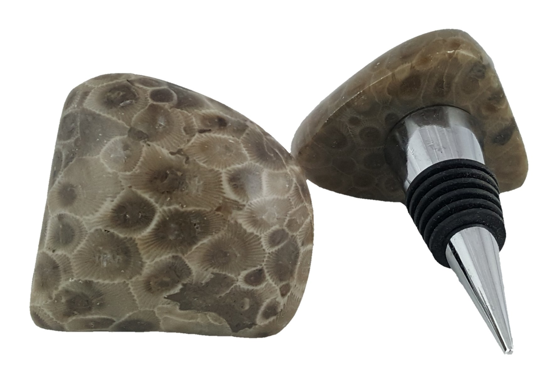 Galaxy Gifts Petoskey Stone Wine Stopper for Lovers of Wine and Michigan | Includes Complimentary Gift Bag| Made in Michigan!