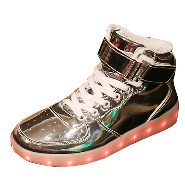 Gaorui New Women LED Light Luminous Sneaker High Top Lovers Athletic Shoes USB Charge B01LA5TY2S 7 B(M) US Silver