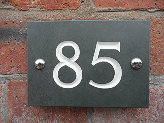 Personalised green slate house number signs 1 to 99 select your number here number 21 amazon co uk garden outdoors