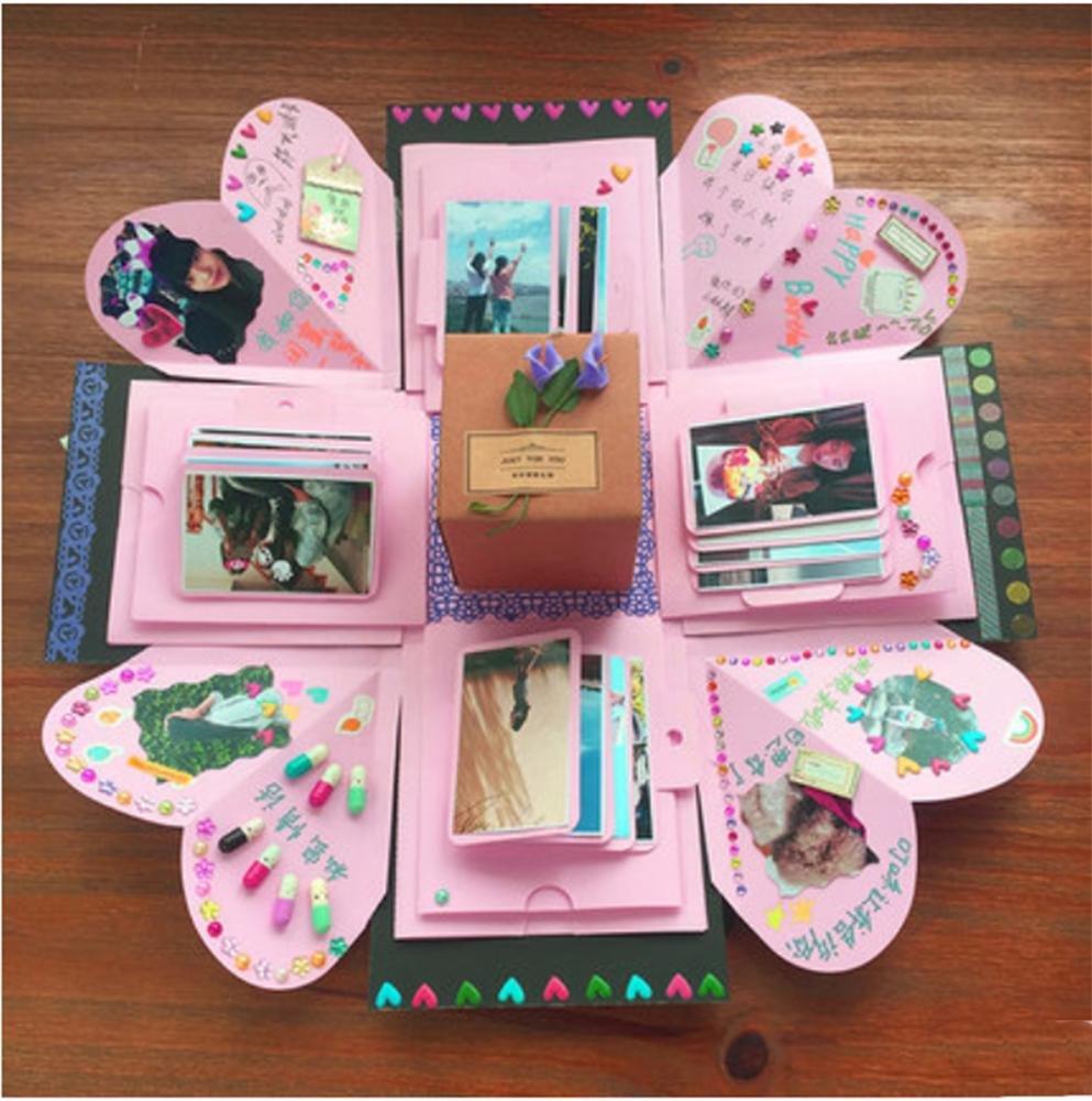 Creative Surprise Explosion Box Hand Diy Thanksgiving Custom Birthday Gift To Send Girls Boyfriend Album Mysterious Black 36 Photos SZLAM